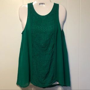 🟣 4/$20 Lucky Brand Green Embroidered Tank Small